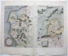 Calais Boulogne picardie FRANCE France Kolor cuivre clés CARTE ORTELIUS 1570