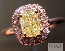 .55ct Fancy Yellow Cushion Cut GIA Pink Diamond Halo R4610 Diamonds by Lauren
