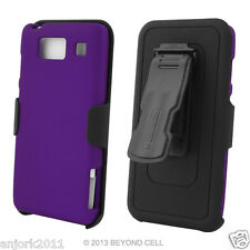 Motorola Droid Razr Maxx HD Hard Case+Holster Combo w/ Swivel Belt Clip Purple