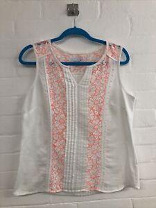 Ladies M&S Per Una White Cotton Vest Top Size 12/14  Neon Orange Trim