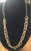 Very Unique VCLM Elongated Cable Chain Gold Tone Necklace Long