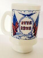 Vintage Milk Glass Bicentennial Coffee Mug USA 1776 1976 Glasbake America