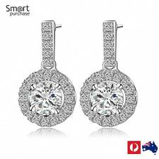 Earrings Silver Plated Inlay Cubic Zirconia Round Drop J2