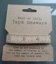 East of India Tape Measure Sewing Fabric Gift Vintage Crafts Brown Ribbon Craft