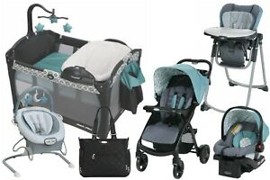 Baby Stroller with Car Seat Travel System Playard High Chair Bouncer Combo
