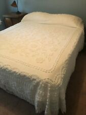Fabulous Vtg Cabin Crafts Needletuft Original Chenille Bedspread White Queen
