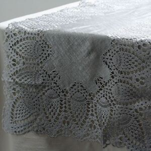 1 x Silver Table Runner With Lace Edge