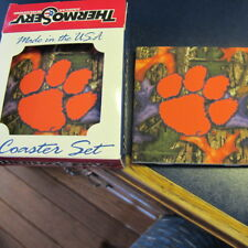 Clemson Tigers 4Pk Square Coaster Set Thermoserve Camo Made in USA
