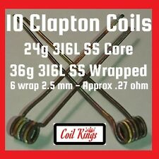 10 Pack 316L Stainless Steel Clapton Coils 24g/36g 6wraps 2.5mm Approx .27Ω
