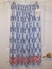 ALFRED DUNNER Santorini Pleated Skirt 10 Chiffon Bohemian Ethnic White Blue NWT