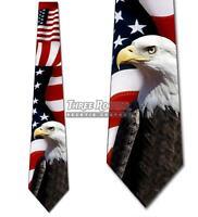 Bald Eagle and Flag Neckties Mens Patriotic Holiday Tie USA Ties NWT