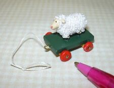 Miniature Fuzzy Sheep Pull Toy w/Red Wheels: DOLLHOUSE 1:12 Scale Toys
