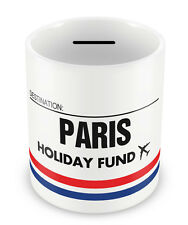 PARIS Holiday Fund Money Box - Gift Idea Travelling Savings Piggy Bank