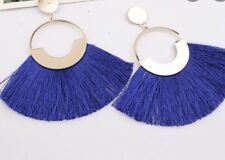 Gold Blue Luxury Long Tassel Fashion Earring Boho Festival Party Boutique Uk