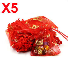 X5 MEDIUM red butterfly organza gift candy bags jewellery favour pouches wrap
