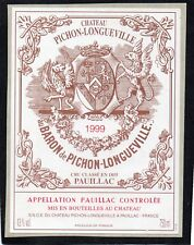 PAUILLAC 2E GCC ETIQUETTE CHATEAU PICHON LONGUEVILLE BARON 1999 75 CL §16/03/18§