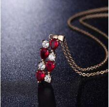 Collier Doré Femme Pendentif Cristal Rouge et Blanc - Bijoux des Lys