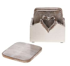 6 WOODEN COASTERS & WHITE HEART  BOX CHIC & SHABBY DESIGN