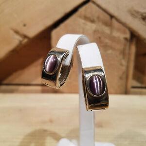 Purple Cabochon Huggie Magnetic Clip Earrings Reversible - Swanky Barn