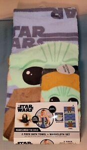 Star Wars The Mandalorian 2 Piece Towel Set NEW 100% Cotton Washcloth & Towel
