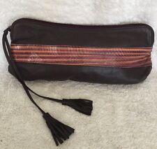 ELISE CAARELS Chestnut Red Leather/Snake Skin Zipped Pouch/Clutch Bag / Handbag