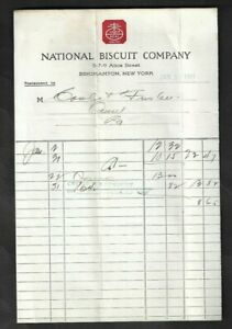 1917 Binghamton,NY - National Biscuit Company Invoice