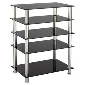 5-Tier AV Component Media Stand Stereo Cabinet Audio-Video Tower Tempered Glass