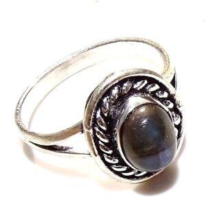 Multi Fire Labradorite Gemstone 925 Silver Plated Handmade Ring 8 US NAT44