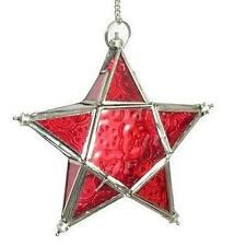 NEW RED GLASS HANGING LANTERN T-LIGHT FAIRY STAR 17CM