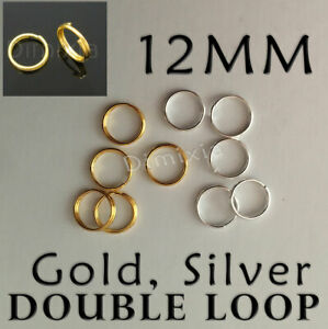 Gold Silver Double Loop 1.2cm Open Jump Rings Split Key Ring Keychain Round 12mm