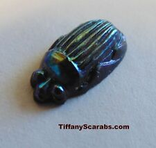 AUTHENTIC ca: 1910 TIFFANY COBALT BLUE FAVRILE ORIGINAL GLASS IRIDESCENT SCARAB
