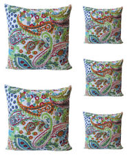 "INDIAN Cotton Handmade 16"" Kantha Paisley Pillow Cushion Cover Throw Dorm Decor"