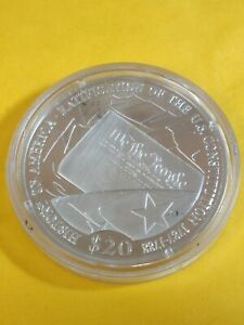 2001 LIBERIA $20 PROOF - HISTORY OF AMERICA - DEC. OF INDEPENDENCE - .999 SIL.
