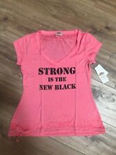 NWT PL MOVEMENT Pink Lotus Women's YOGA Drawstring T Strong is the New Black S