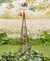 4 Ft Galvanized Farm Animal PIG Weather Vane Garden Trellis Windmill Spinner