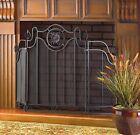 Black Cast Iron Tuscan Design Folding Fireplace Screen