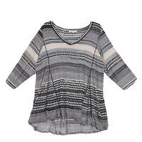 Rose & Olive V Neck Knit Tunic Blouse Womens Sz 3X Muted Geometric 3/4 Sleeve