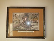 Framed Fish Print ~ Brook Trout Fishing, Couriers & Ives