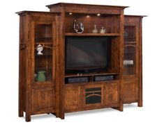 Amish Transitional Solid Wood Entertainment Center Wall Unit TV Console