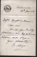1881 KIDDERMINSTER, WORCESTERSHIRE R. LLOYD, HOTEL LETTERHEAD / LETTER