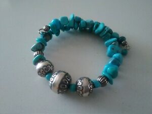 Relios Native American Sterling Silver & Turquoise Cuff Bracelet Made in USA