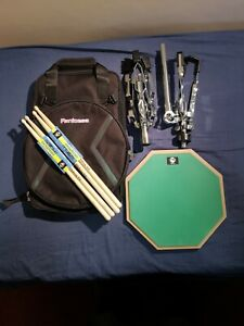 """12""""Practice pad bundle including pad/ ruck sack drum bag /sticks and snare stand"""