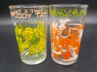 2 Vtg 1974 Welch's Jelly Glass Glasses Looney Tunes Warner Bros Porky Pig Tweety