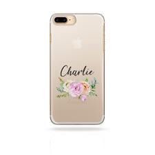 Personalisiert Initialen Blumen IPHONE XS Max Hülle Klar Hartschale für Apple