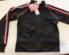 NWT Danskin Girls Mesh Track Jacket Size xs 4 / 5 Black with PInk Trim Zip Front