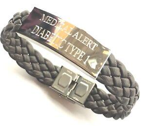 Diabetic Type 1 Medical Alert S.O.s. Brown Woven Leather Bracelet