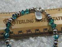 "BFF Aqua glass stone Estate 0.925 Sterling Silver 7 1/2"" Tennis Bracelet"