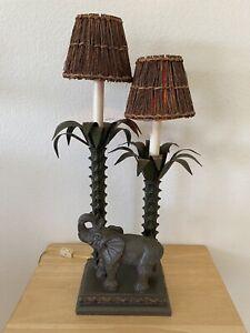 Elephant Table Lamp Africa Safari Wildlife Animal Palm Trees Grass hut Shades