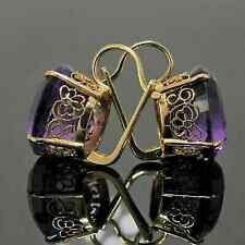 2.00 Ct Round Cut Amethyst Huggie Hoop Halo Earrings 14k Yellow Gold Finish