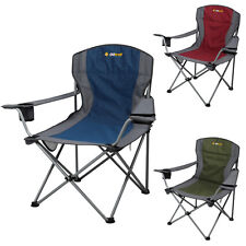 2 x Oztrail Deluxe Jumbo (130kg Limit) Folding Camping Picnic Arm Chair